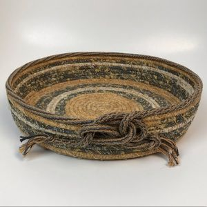Woven Cloth Basket with Twisted Knot